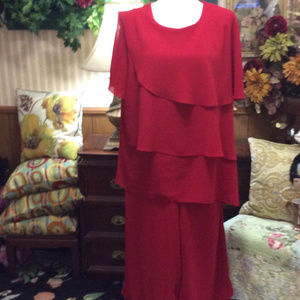 Dressy Red Cocktail Party Pant Suit Big Gurl 22W